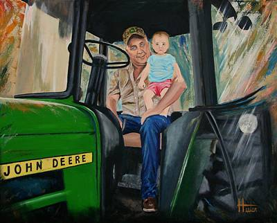 Painting - Sydneys First Tractor Ride. by Terry  Hester
