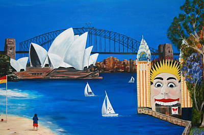 Painting - Sydneyscape - Featuring Luna Park  by Lyndsey Hatchwell