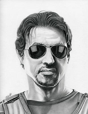 Vet Drawing - Sylvester Stallone - The Expendables by Fred Larucci