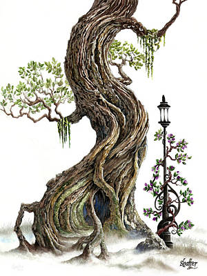 Art Print featuring the painting Sylvia And Her Lamp On White by Curtiss Shaffer