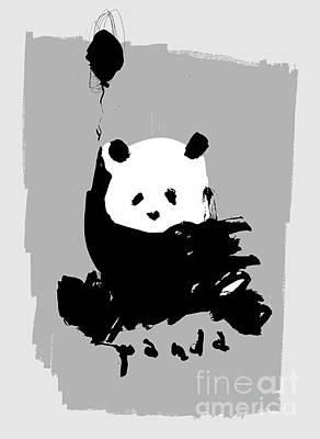 Bass Wall Art - Digital Art - Symbolic Image Of A Panda On A Gray by Dmitriip