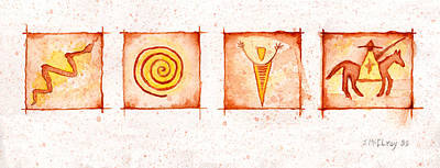 Pictograph Painting - Symbols In Stone by Jerry McElroy
