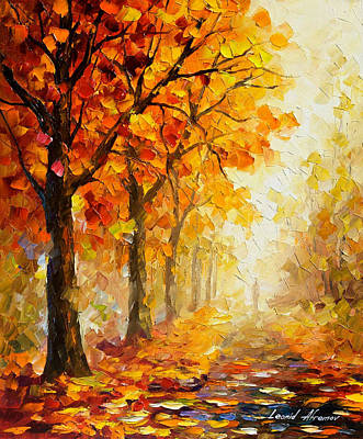 Autumn Leaf Painting - Symbols Of Autumn - Palette Knife Oil Painting On Canvas By Leonid Afremov by Leonid Afremov