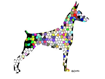 Symetry In Doberman Art Print by Maria C Martinez
