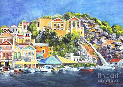 Symi Painting - Symi Harbor The Grecian Isle  by Carol Wisniewski