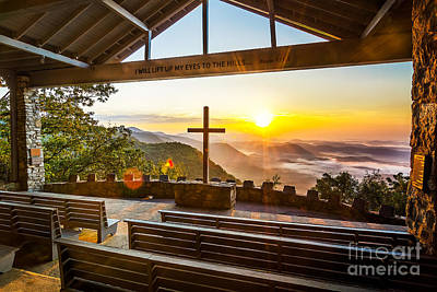 Mountain Royalty-Free and Rights-Managed Images - Symmes Chapel sunrise  by Anthony Heflin