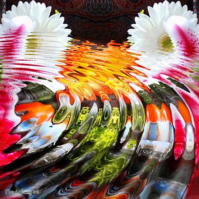 Symmetric Still Life. Flowers In The Water. 2013 80/80 Cm.  Art Print by Tautvydas Davainis