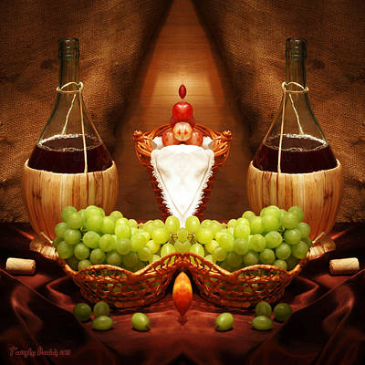 Symmetric Still Life. Two Bottles Of Red Wine. 2013 80/80 Cm.  Original
