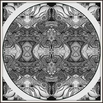 Ballpoint On Bed Sheets Digital Art - Symmetry  In Black And White by Jack Dillhunt