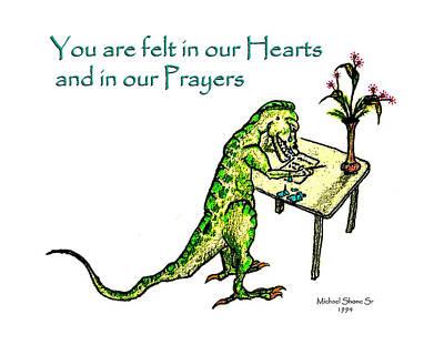 Painting - Sympathy Dinosaur Heart Felt by Michael Shone SR