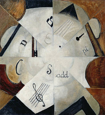Sheet Music Photograph - Symphony, 1915 Oil On Canvas by Michail Ivanovich Menkov