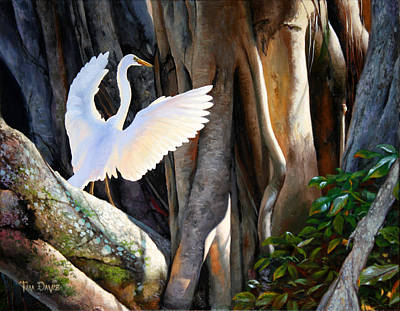 Egret Painting - Symphony At Sunrise by Tim Davis