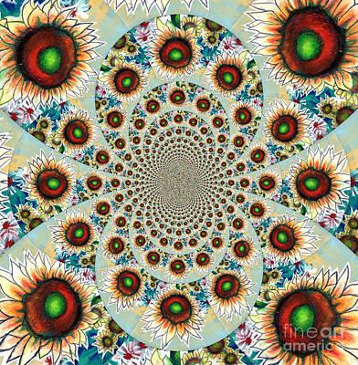 Symphony Of Sunflowers Kaleidoscope Mandela Original by Genevieve Esson