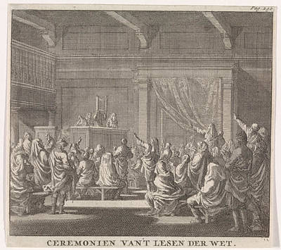 Torah Drawing - Synagogue Where A Rabbi Reads, Print Maker Jan Luyken by Jan Luyken And Daniel Van Den Dalen And Hendrik Van Damme