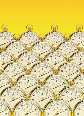 Synchronised Stopwatches Art Print