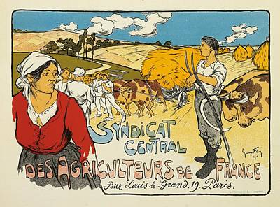 Rural Scenes Drawing - Syndicat Central Des Agriculteurs De France by George Fay