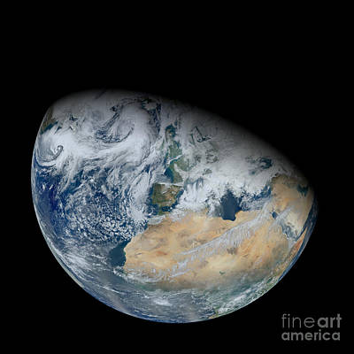 Synthesized View Of Earth Showing North Art Print by Stocktrek Images