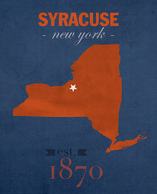 Clemson Mixed Media - Syracuse University New York Orange College Town State Map Poster Series No 102 by Design Turnpike