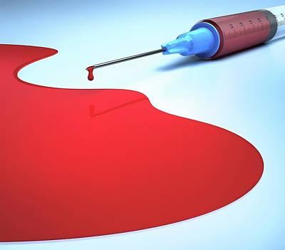 Syringe And Blood Art Print