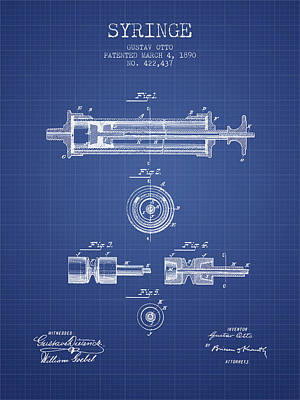 Syringe Patent From 1890 - Blueprint Art Print