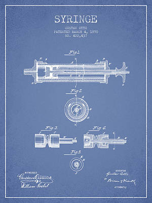 Syringe Patent From 1890 - Light Blue Art Print