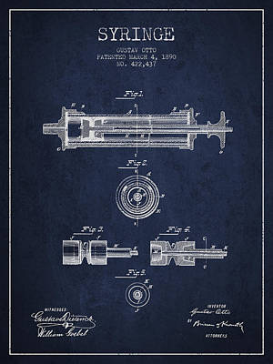 Syringe Patent From 1890 - Navy Blue Art Print