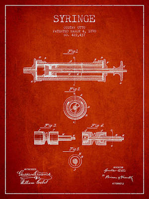 Syringe Patent From 1890 - Red Art Print
