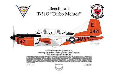 T-34c Turbo Mentor Art Print by Arthur Eggers