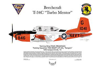 T-34c Turbo Mentor Vt-28 Art Print by Arthur Eggers