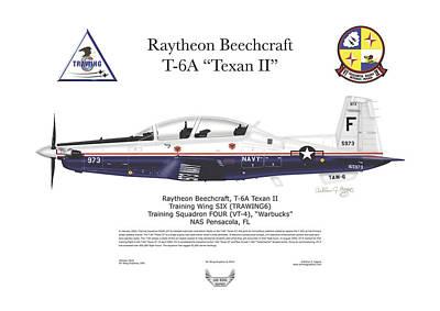 T-6a Jpats Texan II Art Print by Arthur Eggers