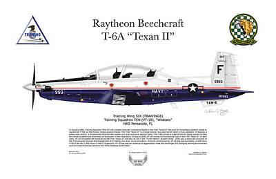 T-6a Texan II Vt-10 Art Print by Arthur Eggers