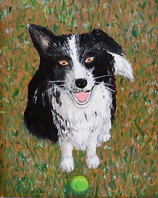 Dog With Tennis Ball Painting - T And Her Tennis Ball by Eileen Lighthawk