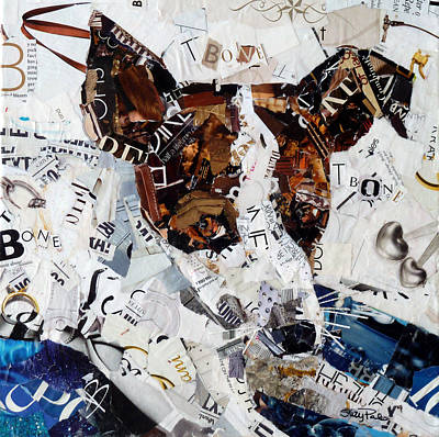 Torn Paper Painting - T-bone by Suzy Pal Powell