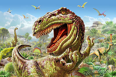 T-rex And Dinosaurs Print by Adrian Chesterman