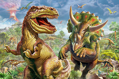 T-rex And Triceratops Print by Adrian Chesterman