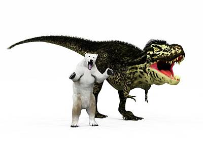 T-rex Dinosaur And Polar Bear Print by Walter Myers