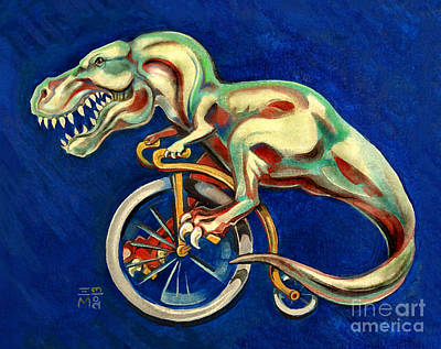 Cycles Painting - T-rex On A Penny Farthing by Ellen Marcus