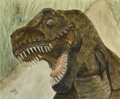 Painting - T-rex..... Run by Kelly Mills