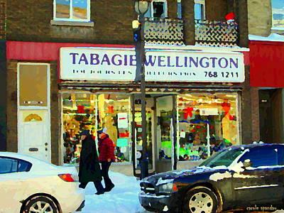 Tabagie Wellington Verdun Toujours Les Meilleurs Prix Montreal  Winter Street Scene Carole Spandau  Art Print by Carole Spandau