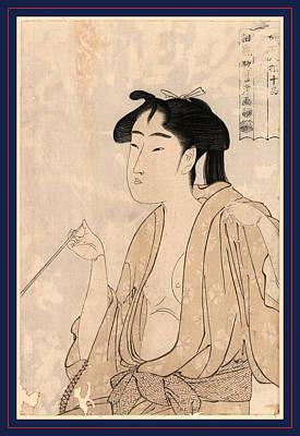 1753 Drawing - Tabako O Suu Onna, Woman Smoking A Pipe. 1791 Or 1792 by Kitagawa, Utamaro (1753-1806), Japanese