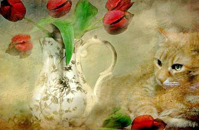 Tabby And Tulips Art Print