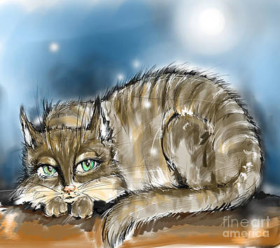 Kitten Digital Art - Tabby Cat  by Angel  Tarantella