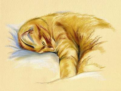 Pastel - Tabby Cat Relaxed Pose by MM Anderson