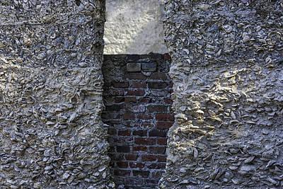 Tabby Wall With Red Brick Infill Print by Lynn Palmer