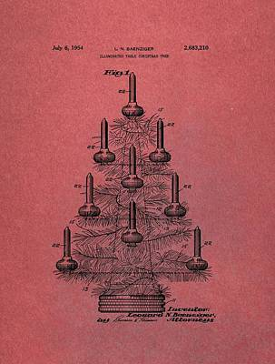 Mixed Media - Table Christmas Tree Patent Red by Dan Sproul