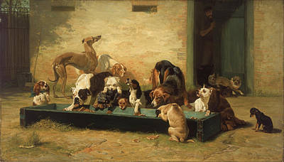 Painting - Table D'hote At A Dogs' Home by John Charles Dollman