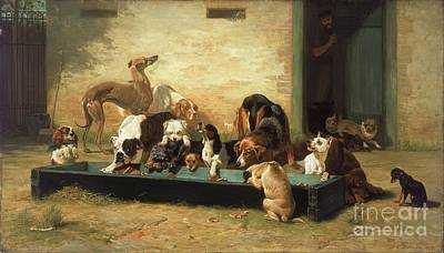 Fauna Painting - Table D'hote At Dogs Home  by Pg Reproductions