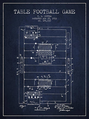 Sports Royalty-Free and Rights-Managed Images - Table Football Game Patent from 1933 - Navy Blue by Aged Pixel