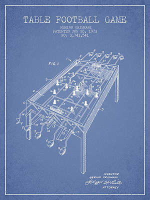 Sports Royalty-Free and Rights-Managed Images - Table Football Game Patent from 1973 - Light Blue by Aged Pixel