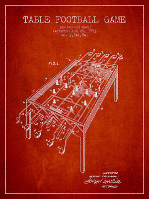 Player Digital Art - Table Football Game Patent From 1973 - Red by Aged Pixel